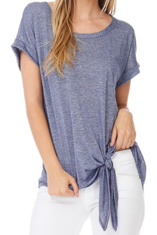KATE MARLED KNOT TEE | DENIM