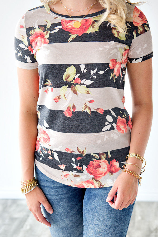 QUINN STRIPE AND FLORAL TEE | TAUPE