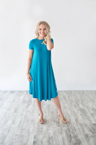 TEE SHIRT DRESS | TEAL