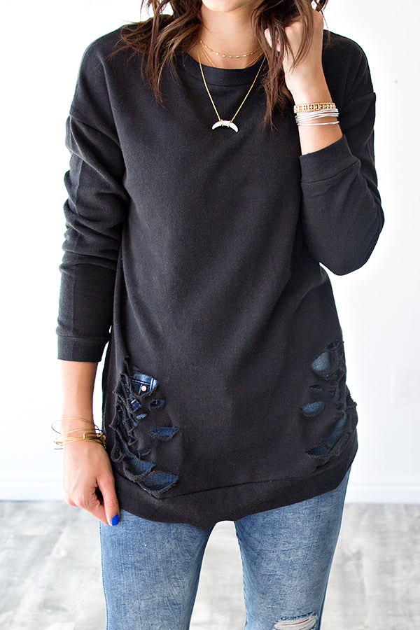 DISTRESSED PULLOVER | BLACK