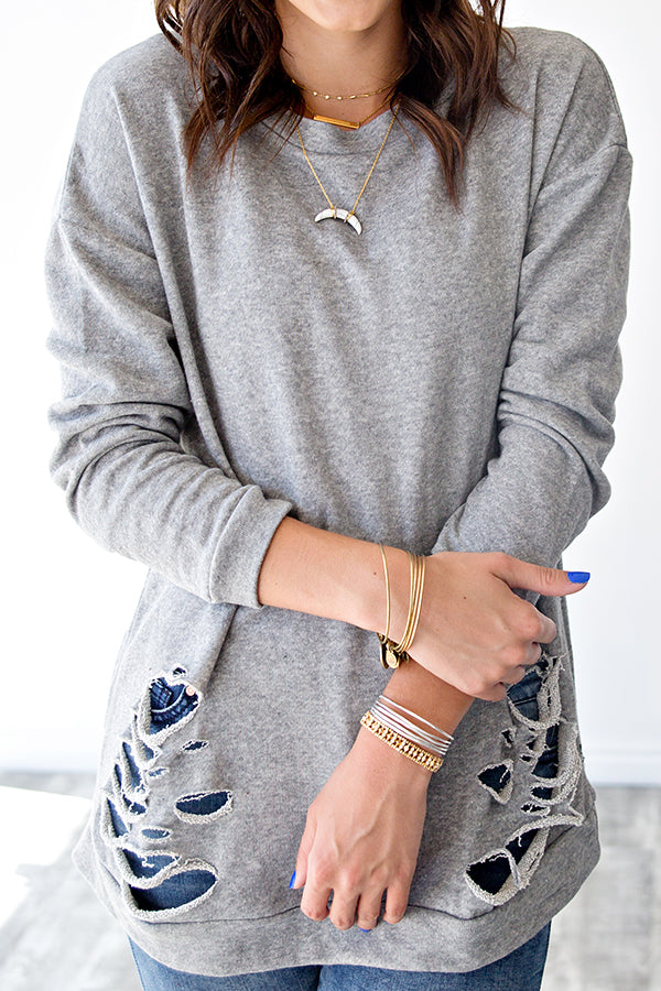 DISTRESSED PULLOVER | GREY