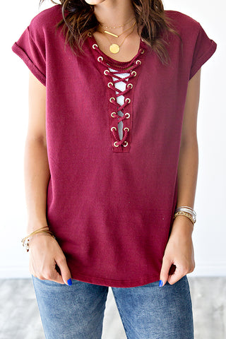 FRENCH TERRY LACE UP TEE | BURGUNDY