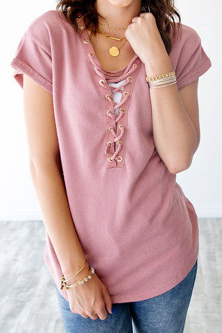 FRENCH TERRY LACE UP TEE | DUSTY PINK