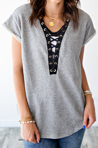 FRENCH TERRY LACE UP TEE | GREY