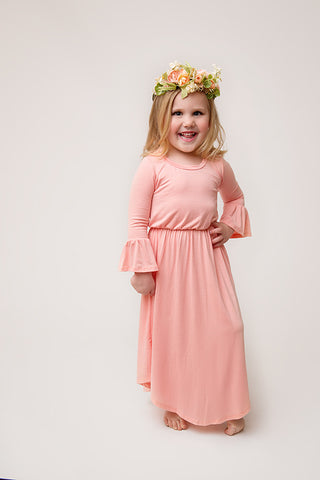 **LITTLE GIRL** BLUSH RUFFLE SLEEVE MIDI DRESS