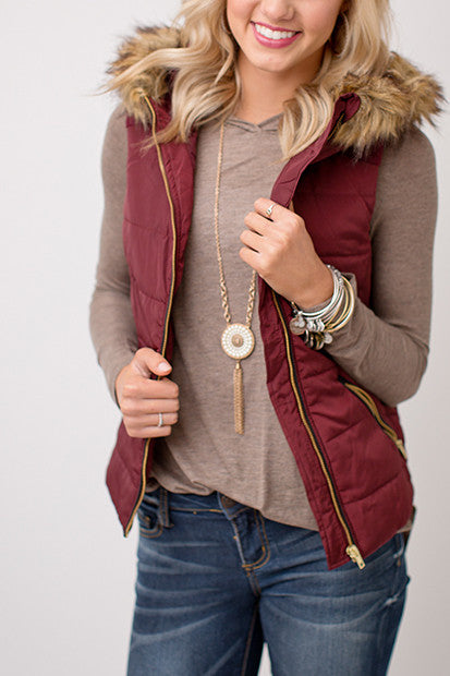 BURGUNDY VEST WITH FUR LINING