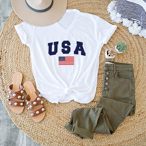 USA WITH FLAG V NECK TEE  | WHITE
