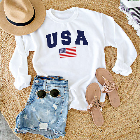 USA WITH FLAG PULLOVER  | WHITE