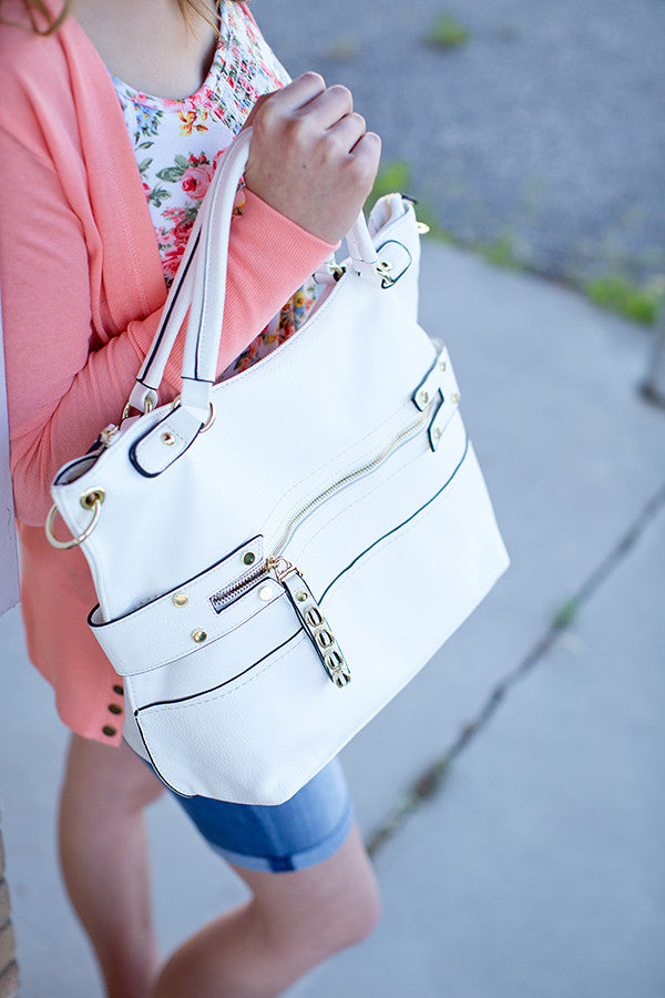 WHITE TRENDY BOHO SATCHEL HANDBAG