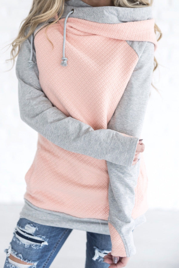 DOUBLE HOOD SWEATSHIRT | QUILTED PEACH