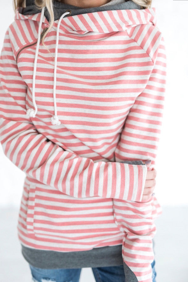 DOUBLE HOOD SWEATSHIRT | PINK STRIPE