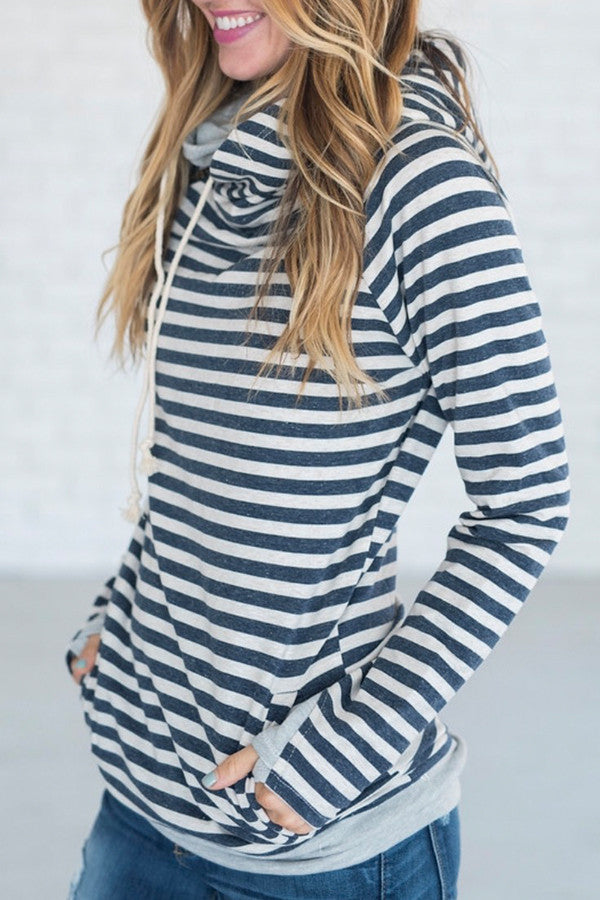 DOUBLE HOOD SWEATSHIRT | NAVY STRIPE