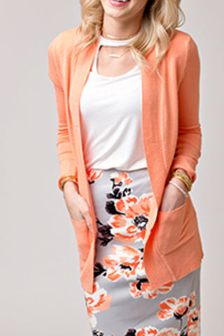 OPEN FRONT CARDIGAN WITH POCKETS | BRIGHT CORAL