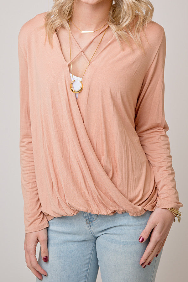 CRISS CROSS WRAP TOP | BLUSH