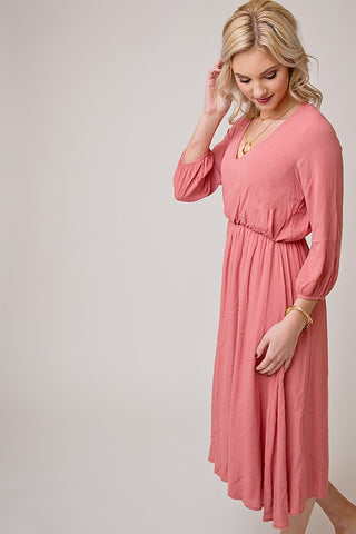 CRINKLE 3/4 SLEEVE V NECK DRESS | DUSTY PINK
