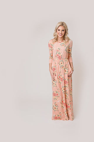 FLORAL LONG SLEEVE MAXI | BLUSH