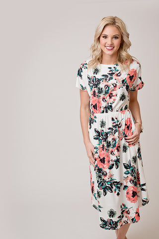 FLORAL MIDI DRESS | IVORY AND CORAL