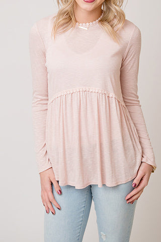 BLUSH  LONG SLEEVE BABYDOLL TOP