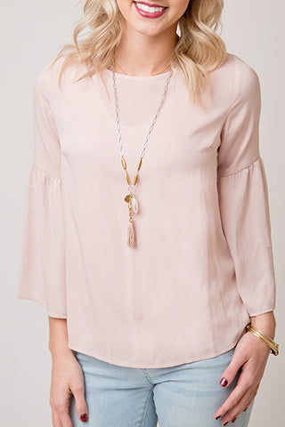 BEAUTIFUL IN BLUSH BLOUSE