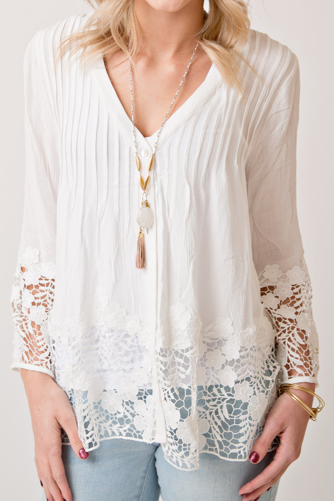 WHITE LACE TRIMMED V NECK TOP