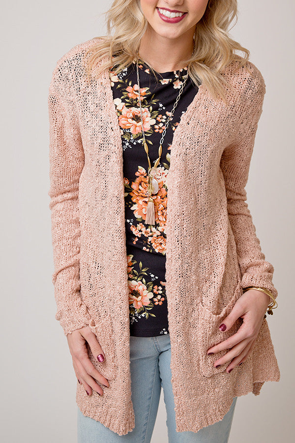 TEXTURED KNIT CARDIGAN WITH POCKETS | BLUSH