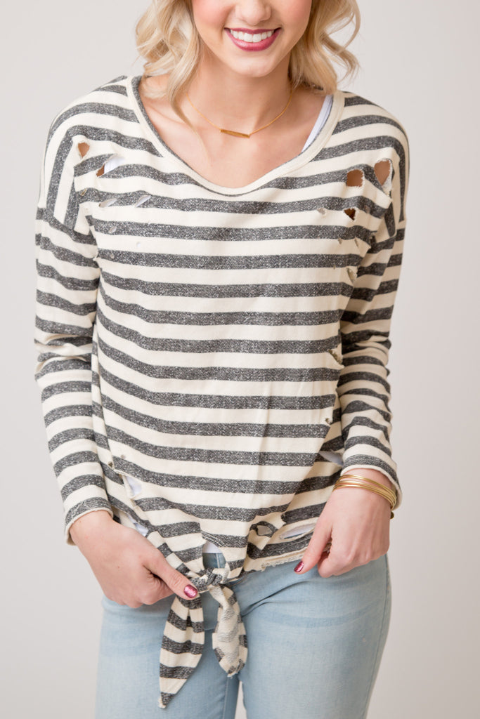DISTRESSED STRIPE KNOT PULLOVER