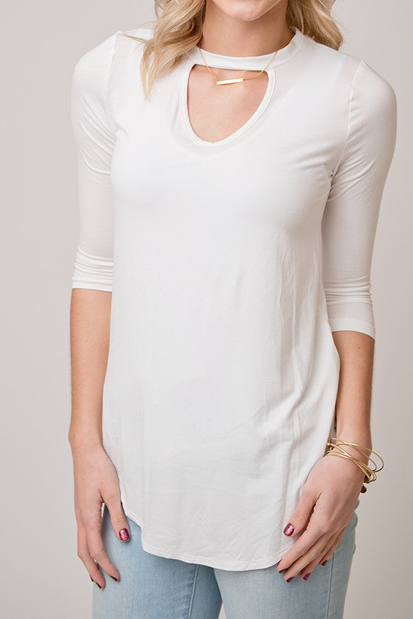 3/4 SLEEVE CHOKER TOP | IVORY