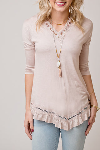 BLUSH RUFFLE TUNIC