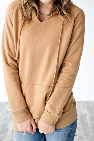 HOODED V NECK TUNIC | MUSTARD