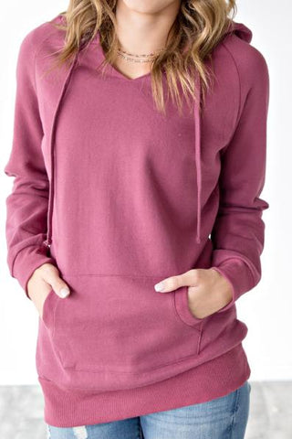 HOODED V NECK TUNIC | DUSTY ROSE