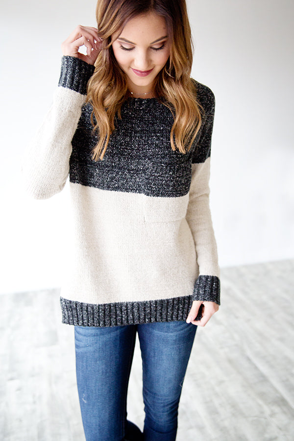 CHARCOAL CHUNK STRIPE SWEATER
