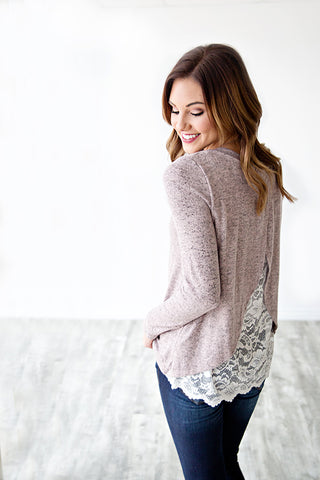 KELCY TULIP CRISS CROSS LACE BACK SWEATER | BLUSH
