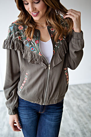 JAYDEN EMBROIDERED RUFFLE JACKET | OLIVE