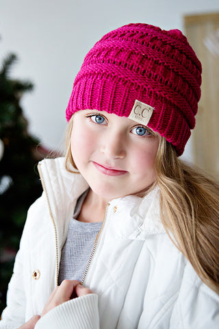 CC CABLE CHILD SIZE KNIT BEANIE | PINK