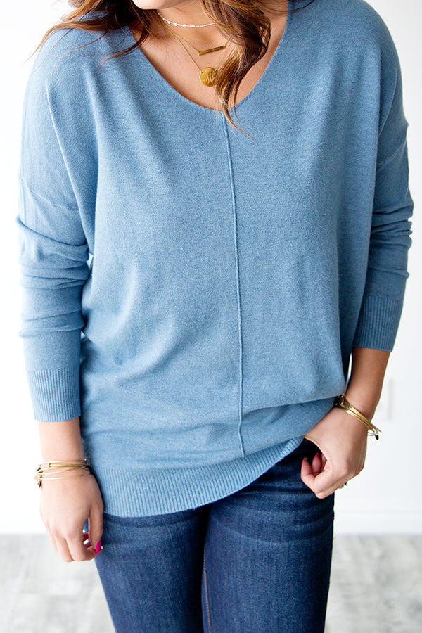 WILLOW SWEATER | DUSTY BLUE