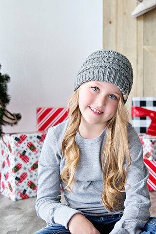 CC CABLE CHILD SIZE KNIT BEANIE | GREY