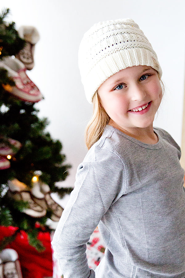 CC CABLE CHILD SIZE KNIT BEANIE | IVORY