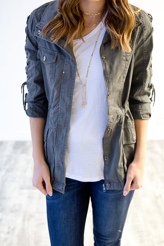 CHARCOAL UTILITY JACKET W / LACE UP DETAIL