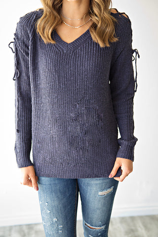 JULIA LACE UP SLEEVE SWEATER | NAVY