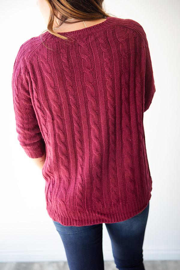 Milly Cable Knit Sweater Burgundy Simply Reese