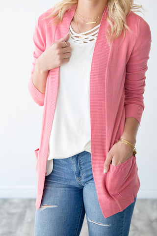 OPEN FRONT CARDIGAN WITH POCKETS | ROSE