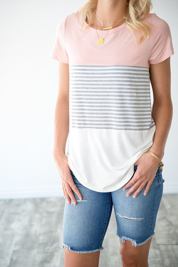KARA BLUSH AND STRIPE COLOR BLOCK TOP