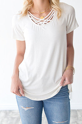LOTTIE CRISS CROSS TEE | IVORY