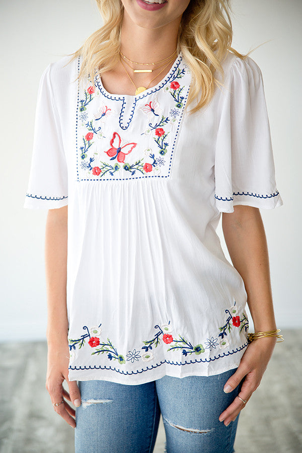 ANNABEL EMBROIDERED TOP