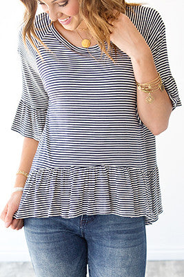 TILLY RUFFLE STRIPE TOP | NAVY