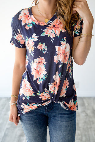 AVERY FLORAL KNOT TOP | NAVY AND CORAL