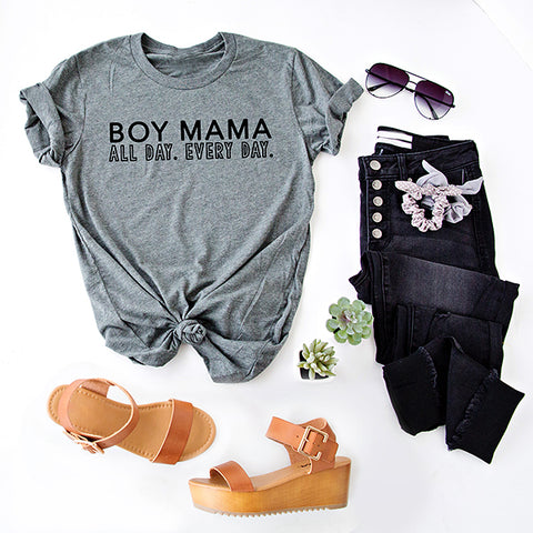 BOY MAMA ALL DAY. EVERY DAY.  GRAPHIC TEE | GREY