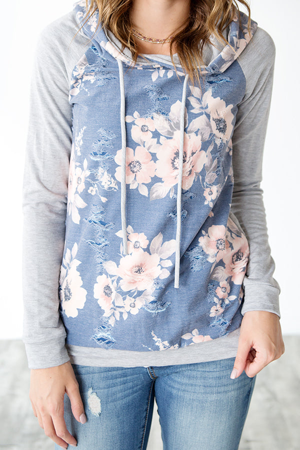 DISTRESSED FRENCH TERRY FLORAL HOODIE | BLUE AND BLUSH
