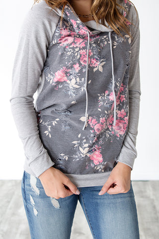 DISTRESSED FRENCH TERRY FLORAL HOODIE | CHARCOAL AND PINK