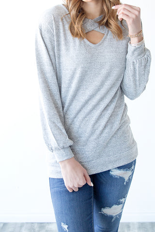 ANNISON CRISS CROSS DETAIL PULLOVER | GREY